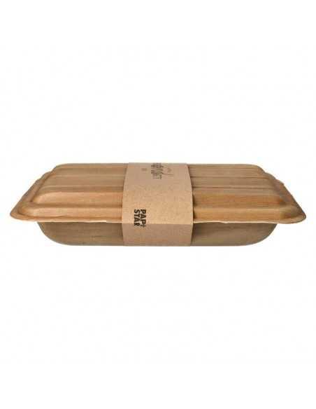 Bandejas hoja de palma sin compartimentos con tapa 25,5 x 17,5 Pure