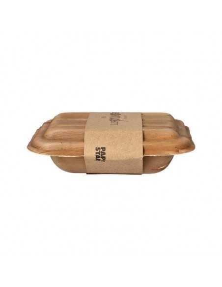 Bandejas hoja de palma sin compartimentos con tapa 17,5 x 13,5 Pure