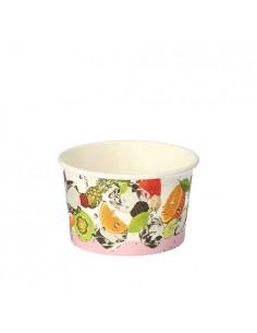 Tarrinas helado biodegradables cartón decorado frutas 150ml
