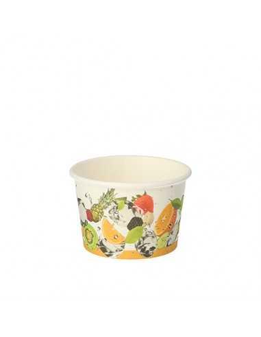 Tarrinas helado biodegradables cartón decorado frutas 125 ml