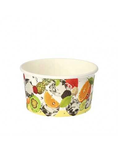 Tarrinas helado biodegradables cartón decorado frutas 250 ml