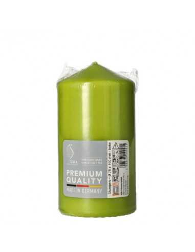 Vela taco color verde abedul decorativa Ø 80 mm x 150 mm