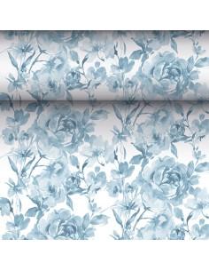 Camino mesa papel decorado rosas azul Royal Collection 24 m x 40 cm
