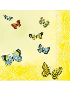 Servilletas de papel decoradas mariposas amarillo 33 x 33 cm