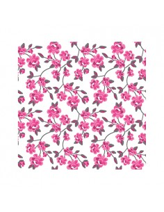 Servilletas de papel decoradas flores rosa fucsia 25 x 25 cm