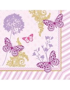 Servilletas de papel decoradas mariposas rosa 40 cm x 40 cm Charlene