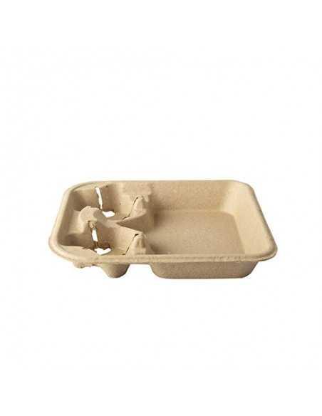 Bandejas cartón transporte vasos y plato color marrón To Go