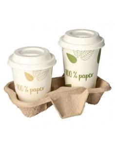 Bandejas cartón transporte vasos café To Go marrón