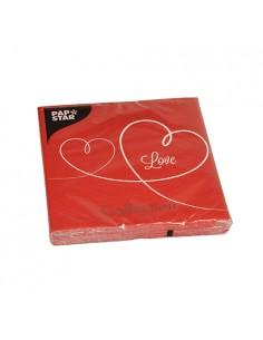 Servilletas de papel impresa Love color rojo 33 x 33 cm