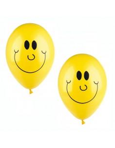 Globos amarillos decorados sonrisa para fiestas Ø25 cm