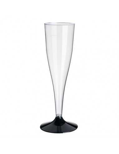 Copas de cava plástico transparente con el pie negro 100ml