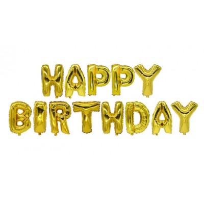 """Set de globos metálicos oro """"Happy Birthday"""""""