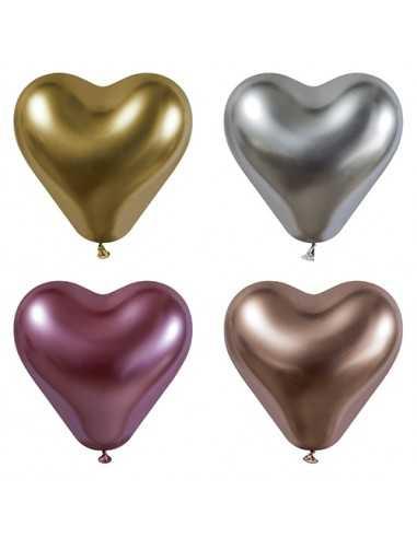 Globos corazón colores metalizados 28 cm