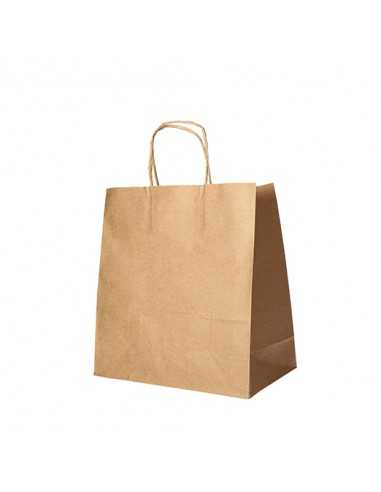 Bolsas de papel kraft marrón con asa retorcida comercio 27 x 32 x 17 cm