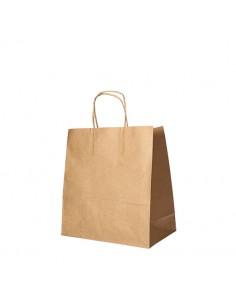 Bolsas de papel kraft marrón con asa retorcida comercio 25 x 26 x 17 cm
