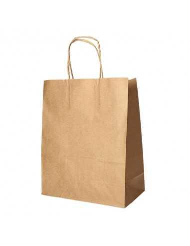 Bolsas de papel kraft marrón con asa retorcida comercio 44 x 32 x 17 cm
