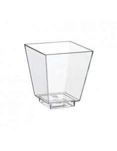 Vasitos para tapas cuadrados plástico transparente Fingerfood 50ml