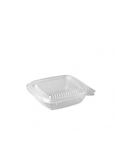 Envases cuadrados plástico transparente con tapa 150 ml