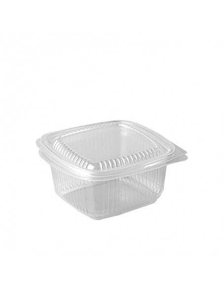 Envases cuadrados plástico transparente con tapa 500 ml
