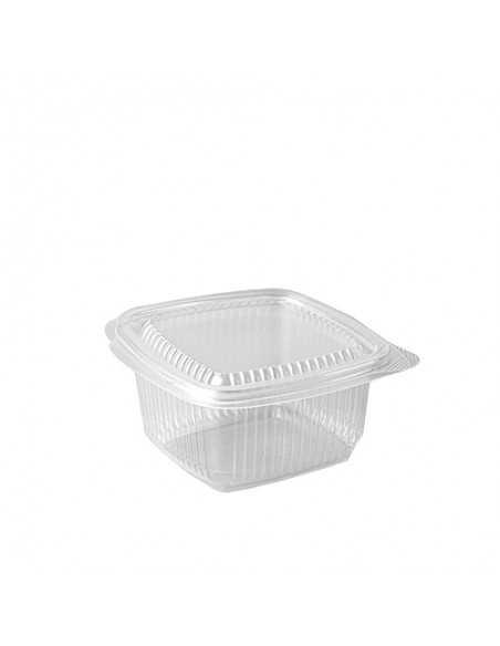 Envases cuadrados plástico transparente con tapa 375 ml