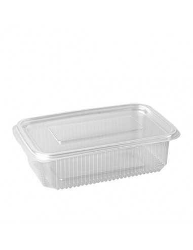 Envases plástico transparente con tapa rectangulares 750 ml