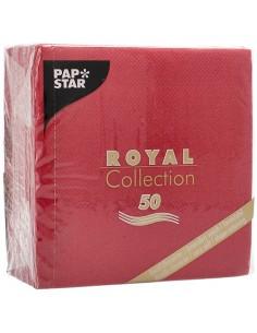 Servilletas papel aspecto tela color burdeos Royal Collection 25 x 25cm