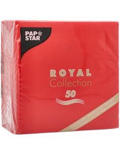 Servilletas papel aspecto tela color rojo Royal Collection 25 x25cm