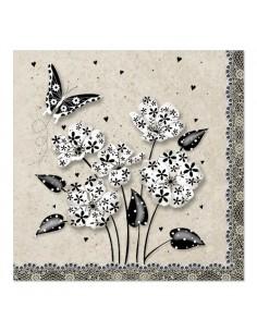 Servilletas de papel decoradas flores crema negro 33x33 cm
