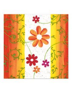 Servilletas de papel decoradas flores naranja 33 x 33 cm modelo Laura