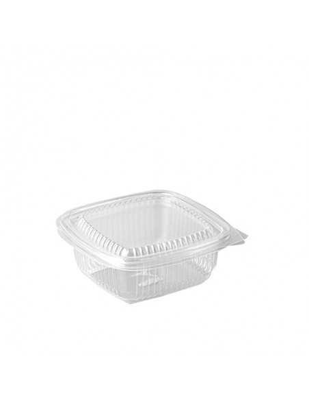 Envases cuadrados plástico transparente con tapa 250 ml