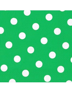 Servilletas de papel impresión lunares 40 x 40 cm verde