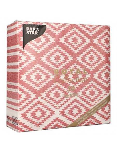 """Servilletas de papel decoradas Royal Collection 40 x 40 cm rojo """"Ethnic Look"""""""