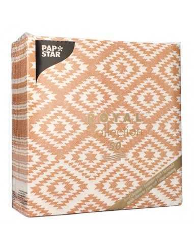 """Servilletas de papel decoradas Royal Collection 40 x 40 cm terracota """"Ethnic Look"""""""