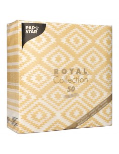 "Servilletas de papel decoradas Royal Collection 40 x 40 cm amarillo ""Ethnic Look"""