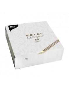 Servilletas de papel decoradas Royal Colection blanco 40 x 40 cm Damascato