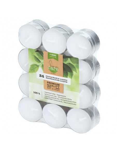 Velas lamparilla ecológicas blancas base aluminio Ø 39 x 15 mm