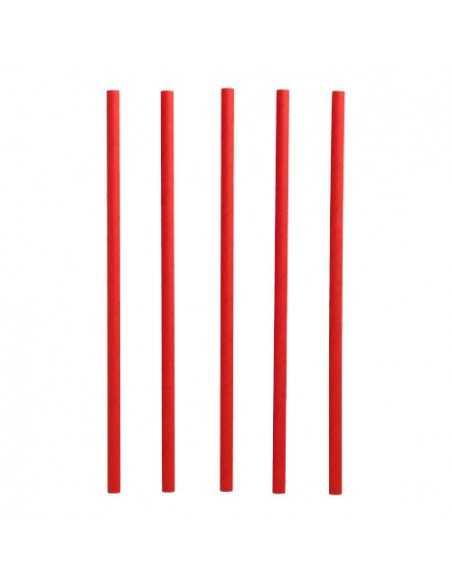 Cañitas de papel rojo para batido Pure Ø8 mm x 25cm