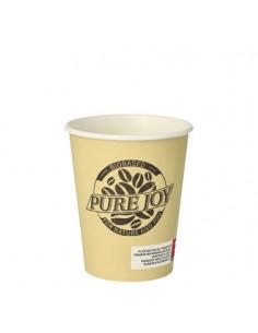Vasos café para llevar cartón color crema 200ml Pure Joy