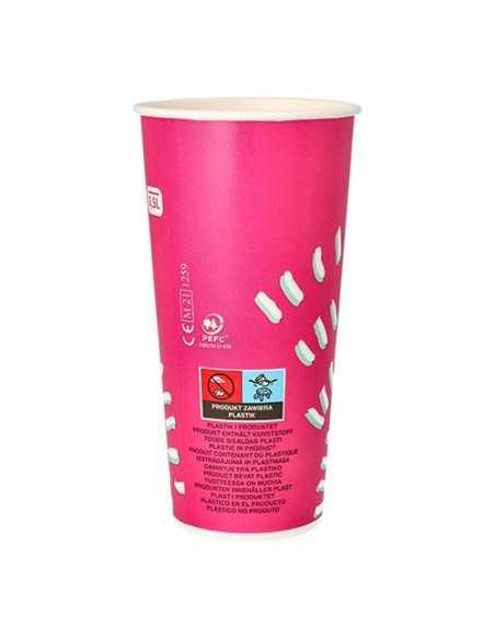 Vasos de cartón color rosa para bebidas frías To Go 500 ml