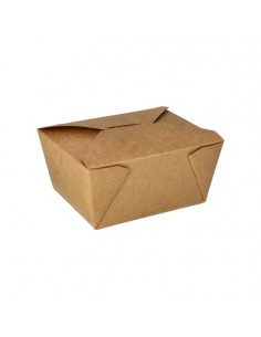 Cajas comida para llevar cartón marrón con tapa 750 ml Pure