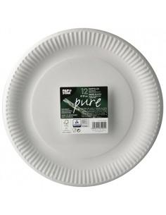 Platos de cartón redondos color blanco Ø 29 cm Pure