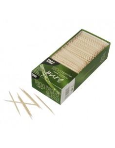 Palillos redondos de madera con doble punta Pure 6,8cm