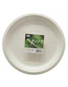 Platos redondos caña azúcar Pure color blanco Ø26 cm