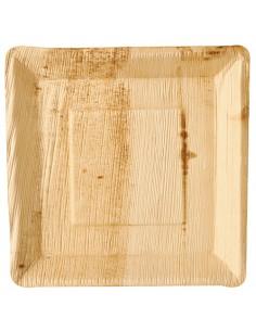 Platos cuadrados compostables hoja de palma natural 25 x 25 cm