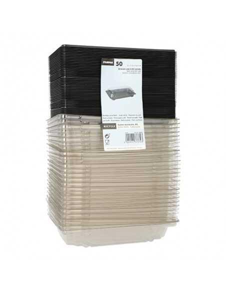 Bandejas para sushi plástico negro con tapa 11,5 x 16,5 cm