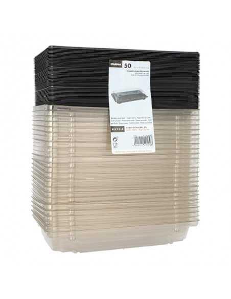 Bandejas para sushi plástico negro con tapa 13,5 x 21,5 cm