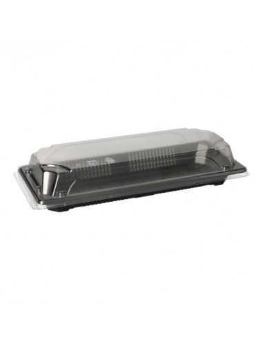 Bandejas para sushi plástico negro con tapa 9,2 x 22 cm