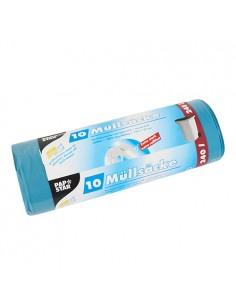 Sacos basura plástico reciclado azul extra resistentes al desgarro 120 ml