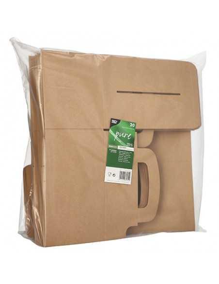 Cajas pastelería cartón con asa color marrón kraft 15,5 x 22,5 x 12,5cm