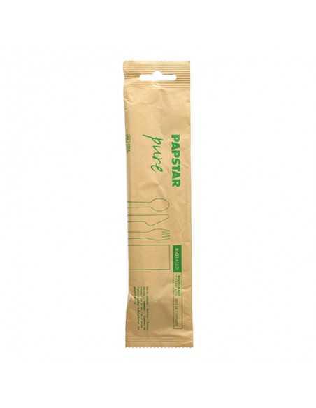 Set cubiertos de madera 3 Piezas con servilleta envueltos papel